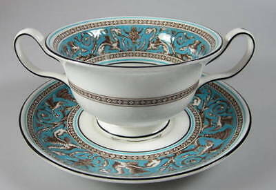 (Wedgwood Florentine Turquoise, Cream Soup & stand - W2714 Black Backstamp)