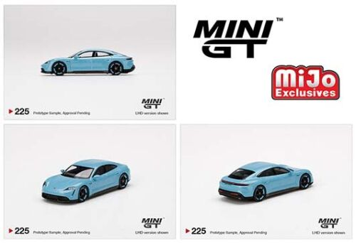 MINI GT #225 FROZEN BLUE PORSCHE TAYCAN TURBO S - MIJO EXCLUSIVE [PRESALE]