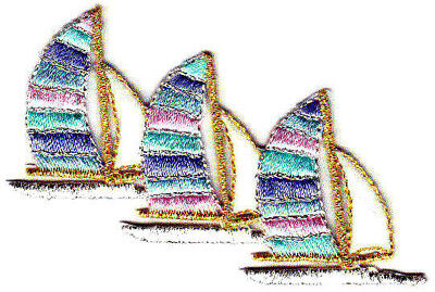 Sailboats Nautical Sailing Ocean Boats Iron On Embroidered Patch for sale  Shipping to India