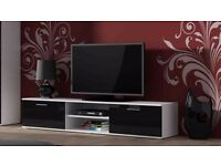 High Gloss TV Cabinet Entertainment Unit 2 Doors with Shelf - Black & White