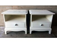 Stag Minstrel Bedside Tables - Shabby Chic - Hand Painted in Everlong French Cream Chalk Paint