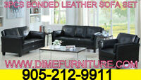 NO TAX 3PCS BONDED LEATHER SOFA SET $599 ONLY