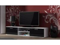 High Gloss TV Cabinet Entertainment Unit 2 Doors with Shelf - Black & White new