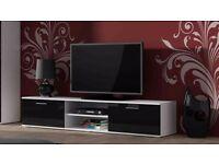 High Gloss TV Cabinet Entertainment Unit 2 Doors with Shelf - Black & White