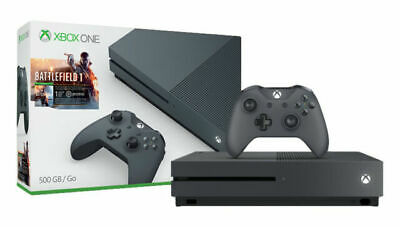 NEW Microsoft Xbox One S 500GB Battlefield 1 Gaming Console Bundle Storm Grey