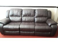 Three and two piece brown leather suite with reclining seats. Excellent condition, hardly used.
