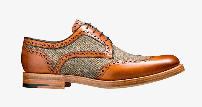 Handmade Men's Tan Leather And Fabric Oxford Brogue Wingtip