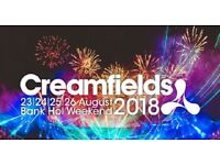 *** CREAMFIELDS 3-DAY STANDARD CAMPING TICKET - ONE ONLY FOR 24-27 August 2018