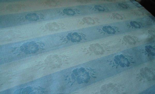 "Vintage Blue White Wide Stripe Damask Tablecloth Poppies Hemstitch 82"""