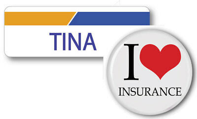 Tina Progressive Insurance Pin Back Name Badge   Button Halloween Ships Free