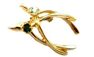 Double Wishbone Green Rhinestone Pin Gold Plated Brooch Vintage Costume Fashion