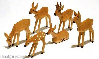 Rehe geschnitzt, geschnitzte Rehgruppe 6cm, gebeizt, Reh, Krippe, Krippenfiguren