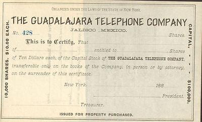 The Guadalajara Telephone Company > 188_ Jalisco Mexico stock certificate