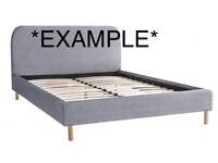 Grey Fabric Bed Frame & Mattress