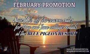 15% off May and June Cottage Rentals