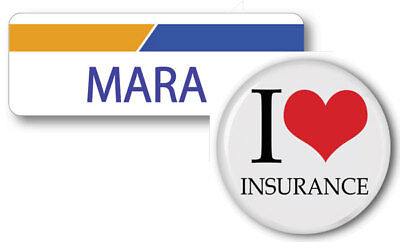 Mara Progressive Insurance Pin Back Name Badge   Button Halloween Ships Free