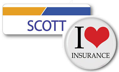 Scott Progressive Insurance Pin Back Name Badge   Button Halloween Ships Free