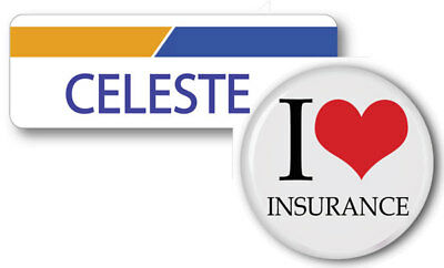 Celeste Progressive Insurance Pin Name Badge   Button Halloween Ships Free