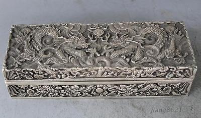 China Exquisite Silver Dragon Decorative pattern Beast Box Boxes Statue