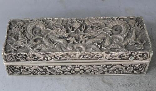 Rare Old Chinese Tibetan silver handwork carved Dragon Statue  Boxes Z01