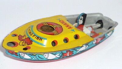 Antiguo Bote de Lata Flying Fish Anand Buque Barco Lancha Juguete Hojalata, usado comprar usado  Enviando para Brazil