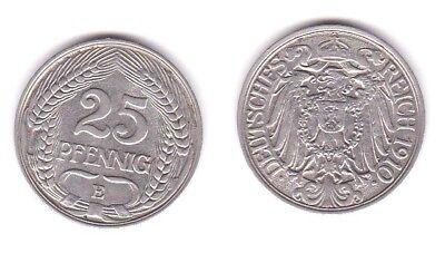 25 Pfennig Nickel Münze Deutsches Reich 1910 E  (117278)