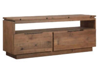 Designer Mark New York Reclaimed Solid Pine Wood Two Drawer Media Unit.