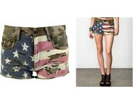 BNWT Denim & Supply Ralph Lauren Camo Print Military Flag USA Distressed Shorts