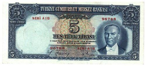 Turkey 5 Lirasi 1930 Red Series 76788 Very Rare Original!