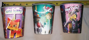 3 x 3D Linear Lego Movie Plastic Cups - NEW