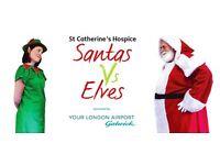 Santas Vs Elves Fun runs for St Catherine's Hospice 2016 Horsham,Caterham,Tilgate and East Grinstead