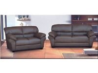 3 AND 2 LEATHER SOFA SUITE IN BROWN 3 SETS LEFT £250