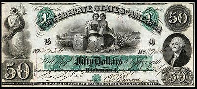 CRISP UNC. 1861 $50 CONFEDRATE STATE OF AMERICA BANKNOTE COPY