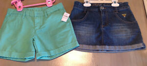 Girls size 10 NWT gap shorts and guess jean skirt