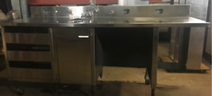 RESTAURANT SINK WITH PREP TABLE, DRAWERS FOR SALE