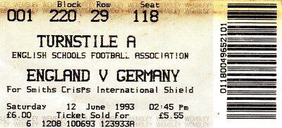 Ticket - England v Germany 12.06.93 Schools International