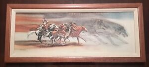 "Bev Doolittle — ""Wolves of the Crow"" Framed Canvas"