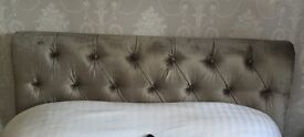 French grey velvet headboard