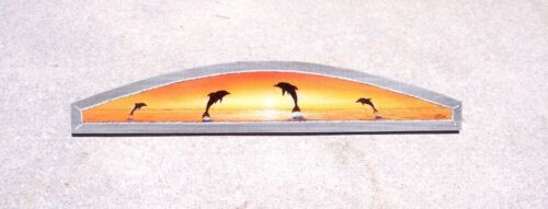 Dolphin sunset Over the Door plaque beach art Nautical painting decor porpoise