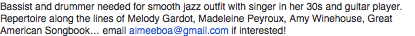 Drummer and Bassist needed for Smooth Jazz outfit...