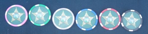 Broward County Sheriff Office FL State Florida Fla Police Poker Chips - Set of 6