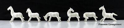 Lot of 6 Vintage Miniature White Porcelain Horse Figurines