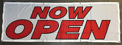 2x6 Ft Now Open Banner Sign Vinyl Alternative Store Sale Retail - Fabric Wb