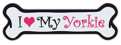 Pink Dog Bone Shaped Magnets: I Love My Yorkie (Yorkshire Terrier) | Cars