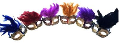 Venetian Style Masquerade Feather Mask Halloween Music Notes Adult Men Women New](Halloween Fashion Music)
