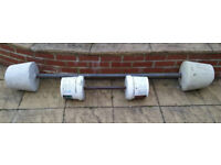 Barbell and Dumbell, Heavy cement and scaffolding-pole weights