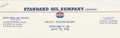 1953 Letter Standard Oil Co. Sales Dept. South Bend, In. to Attorney in Peru, In