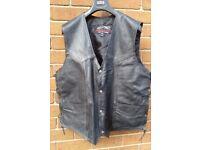 Black Leather motorcycle waistcoat XXXL