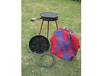 Beauclair gas barbeque complete with high level legs, griddle plate, paella dish and carry case