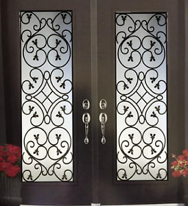 GLASS inserts For front Doors Stained glass door wrought iron